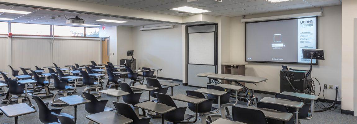 UConn DPT Classroom space with desks